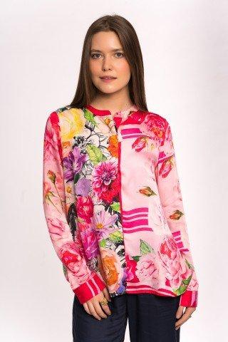 Bluza de matase roz cu imprimeu floral