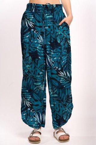 Pantaloni largi negru turcoaz cu slituri laterale