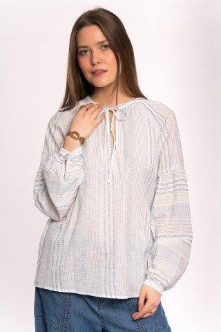 Bluza alba cu siret si dungi fine