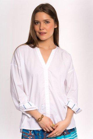 Bluza alba din poplin cu anchior