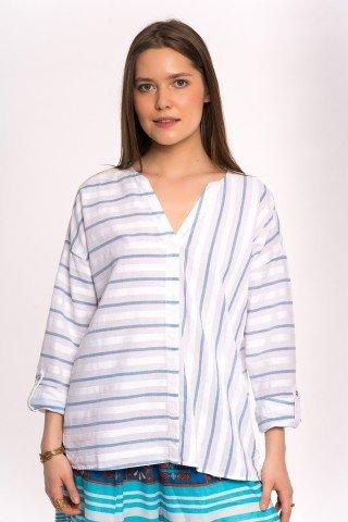 Bluza alba cu dungi albastre si anchior