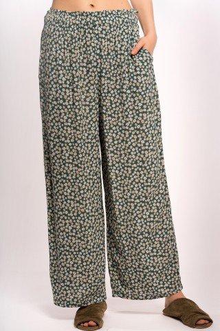 Pantaloni drepti verzi cu mini margarete