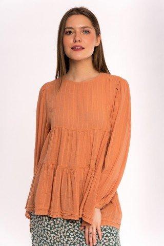Bluza portocaliu-ocru decupata pe spate in volane
