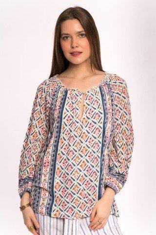 Bluza crem cu print multicolor si elastic la maneci