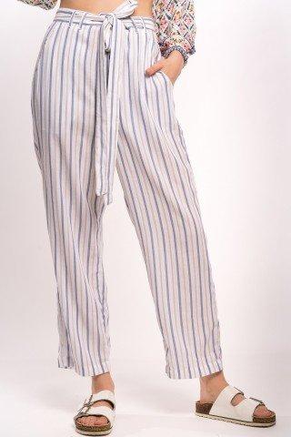 Pantaloni albi cu dungi crem albastre si cordon