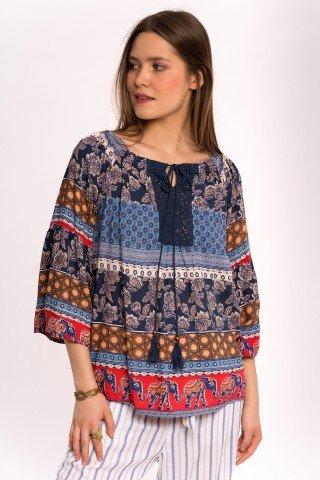 Bluza bleumarin cu elefanti si print multicolor