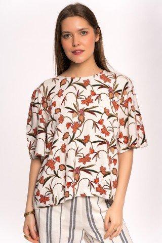 Bluza alba din in cu print floral portocaliu
