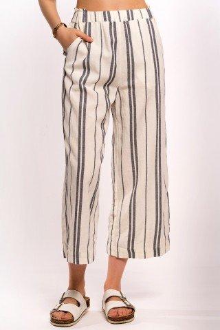 Pantaloni albi culotte din in cu dungi gri-petrol
