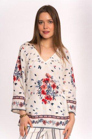 Bluza alba cu print floral si frunze bleumarin