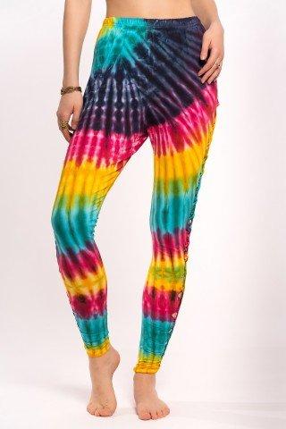 Pantaloni leggings tye-dye curcubeu cu decupaje laterale