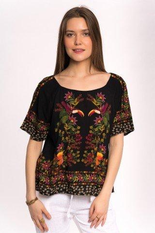 Bluza neagra cu imprimata Wild Tucan