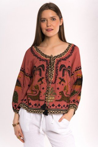 Bluza caramizie cu print Wild Sahara