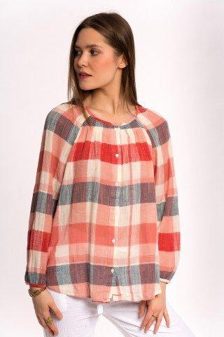 Bluza in carouri rosii cu nasturi