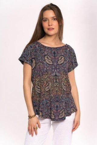 Bluza tip tricou bleumarin cu print paisley asimetric