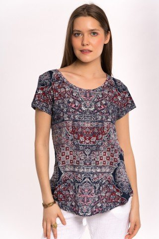 Tricou bleumarin cu imprimeu geometric rosu