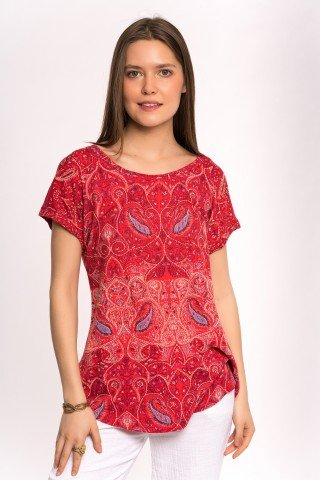 Tricou rosu cu imprimeu paisly