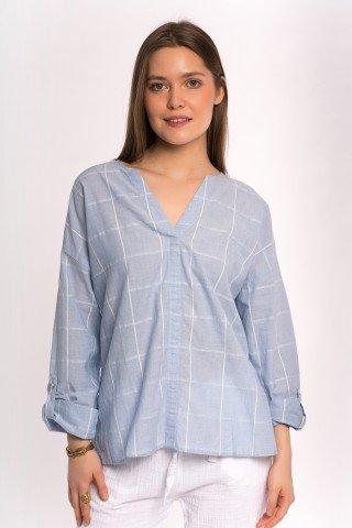 Bluza bleu cu carouri albe si anchior