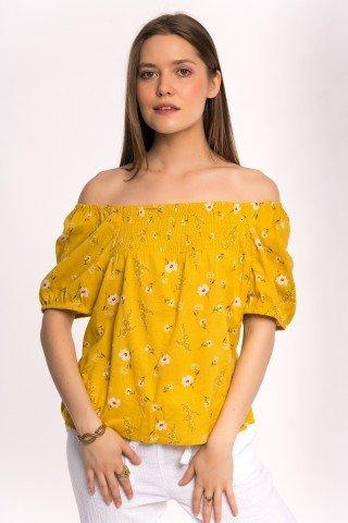 Bluza galbena cu floricele si elastic