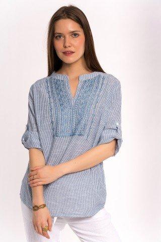 Bluza cu dungi fine si platca brodata bleu
