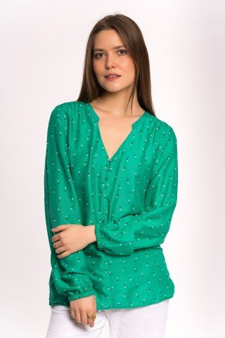 Bluza verde cu buline cu nasturi