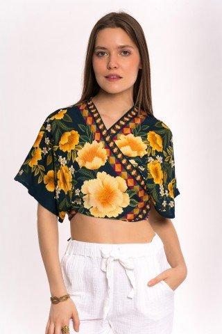 Blazer bleumarin cu flori galbene si fluture petrecut