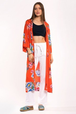 Cardigan rosu corai cu print floral si slituri laterale