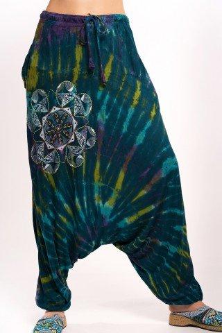 Salvari turcoaz tye-dye cu mandala printata si brodata