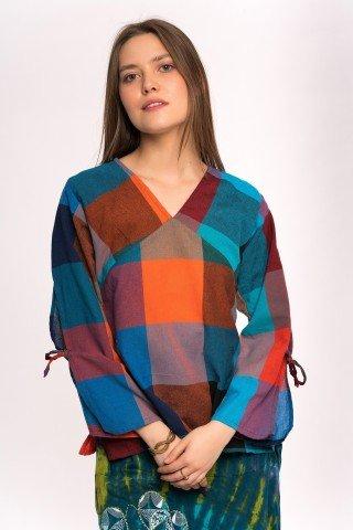 Bluza cu anchior patrate colorate