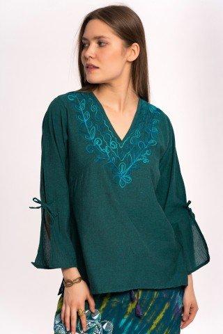 Bluza verde inchis cu achior si broderie