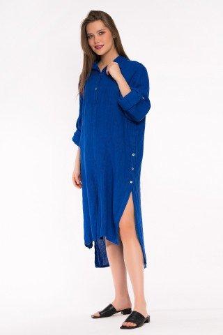 Rochie albastru regal tip camasa asimetrica din in