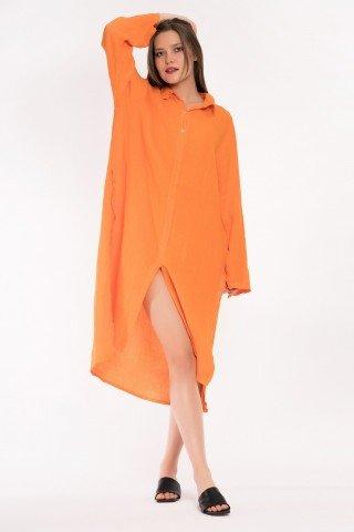 Rochie potrocalie tip camasa asimetrica din in