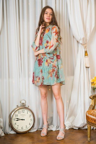 Rochie vernil cu print floral cu snur