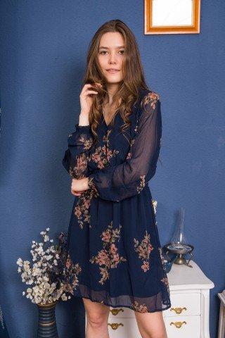 Rochie bleumarin scurta cu print floral si elastic in talie