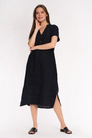 Rochie neagra din in cu slituri laterale si anchior