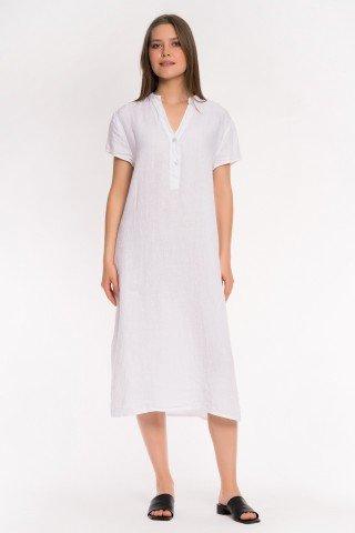 Rochie alba din in cu slituri laterale si anchior