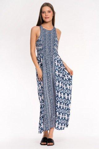 Rochie lunga alba cu imprimeu bleumarin