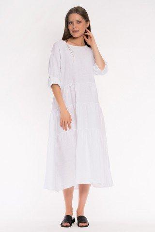 Rochie alba din in cu volane