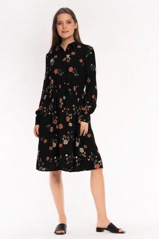 Rochie neagra cu guler si elastic in talie