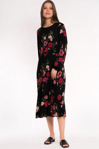 Rochie neagra cu elastic in talie si trandafiri rosii