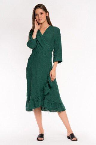 Rochie verde de in petrecuta cu volan