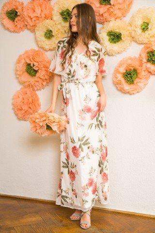 Rochie alba lunga cu imprimeu floral bujori