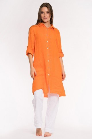 Camasa portocalie lunga din in