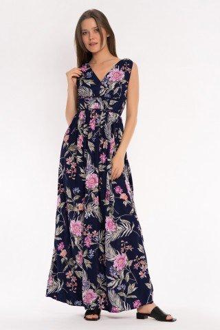 Rochie lunga bleumarin cu print floral