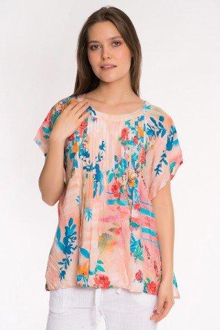 Bluza multicolora cu imprimeu floral si pliuri