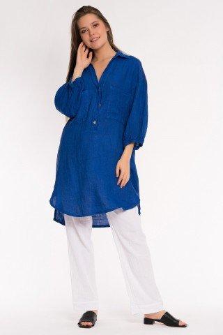 Camasa albastru regal din in cu maneci bufante