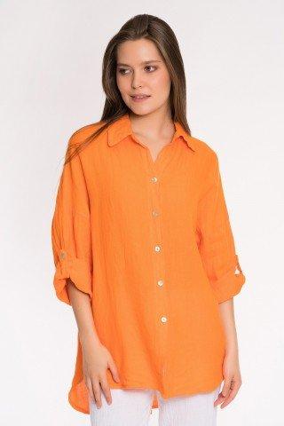Camasa asimetrica din in portocaliu