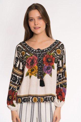Bluza crem cu print floral Brazil