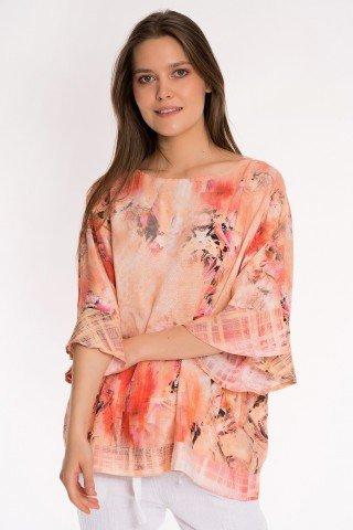 Bluza peach cu imprimeu floral