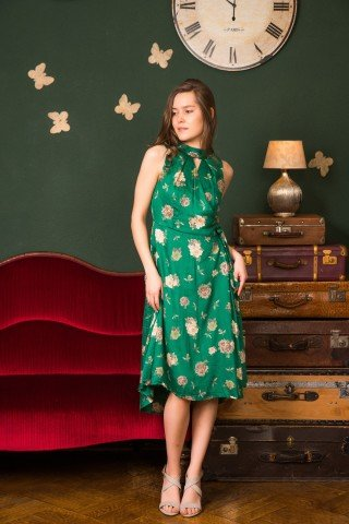 Rochie verde petrecuta Alfonso din vascoza