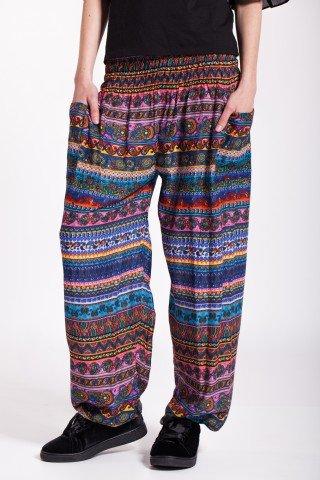 Pantaloni multicolor Azur cu buzunare